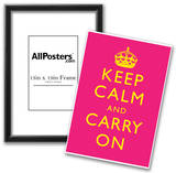 Keep Calm and Carry On Motivational Yellow and Bright Pink Art Print Poster Prints