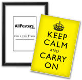 Keep Calm and Carry On (Motivational, Yellow, Black Text) Art Poster Print Poster