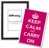 Keep Calm and Carry On (Motivational, Magenta) Art Poster Print Photo