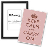 Keep Calm and Carry On Motivational Light Pink Art Print Poster Posters