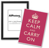 Keep Calm and Carry On Motivational Fuchsia Art Print Poster Photo