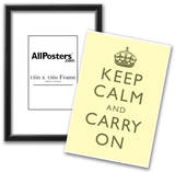 Keep Calm and Carry On Motivational Pale Yellow Art Print Poster Posters