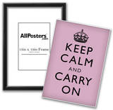 Keep Calm and Carry On (Motivational, Lilac) Art Poster Print Photo