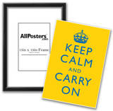 Keep Calm and Carry On Motivational Bright Yellow Art Print Poster Print