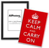 Keep Calm and Carry On (Motivational, Red) Art Poster Print Print