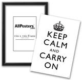 Keep Calm and Carry On (Motivational, White) Art Poster Print Print