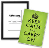 Keep Calm and Carry On (Motivational, Faded Medium Green) Art Poster Print Prints