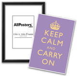 Keep Calm and Carry On Motivational Lilac Art Print Poster Poster