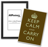 Keep Calm and Carry On Motivational Dark Brown Art Print Poster Posters