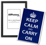 Keep Calm and Carry On (Motivational, Dark Blue) Art Poster Print Poster
