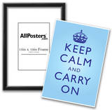 Keep Calm and Carry On Motivational Bright Blue Art Print Poster Poster