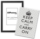 Keep Calm and Carry On Motivational Grey Pattern Art Print Poster Posters