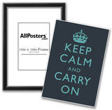 Keep Calm and Carry On Motivational Dark Blue Art Print Poster Poster