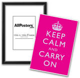 Keep Calm and Carry On Motivational Bright Pink Art Print Poster Prints