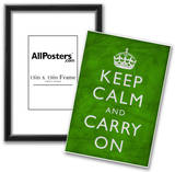 Keep Calm and Carry On (Motivational, Green, Wrinkled) Art Poster Print Posters