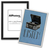 Listen Retro Record Player Art Poster Print Print