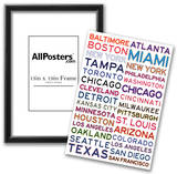 Major League Baseball Cities on White Prints