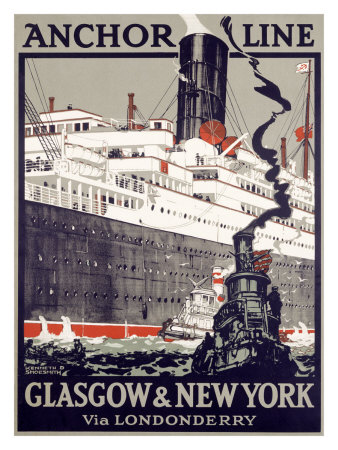 Anchor Line, Glasgow to New York Giclee Print by Kenneth Shoesmith