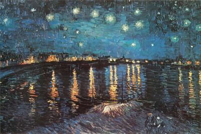 Hvězdná noc nad Rhônou, cca1888 Plakát