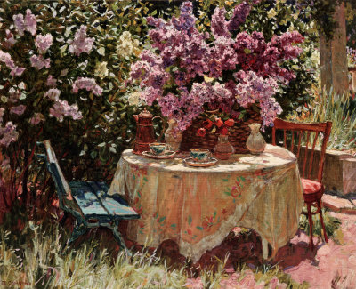 Garden Table with Blue Chair Posters by Piotr Stolerenko