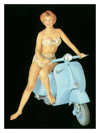 pin up photos. Pin-Up Girl: Italian Vespa