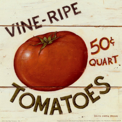 Vine Ripe Tomatoes Art by David Carter Brown