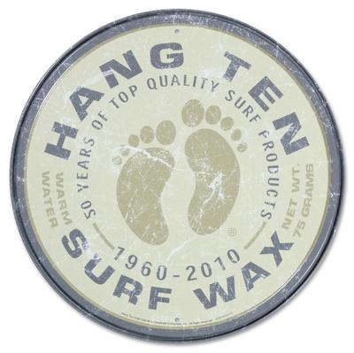 Hang Ten Surf Wax Round Tin Sign