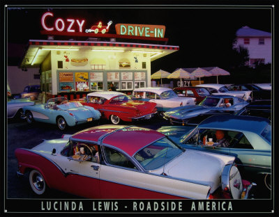Cozy Drive In Tin Sign by Lucinda Lewis