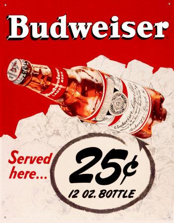 Budweiser 25 Cents Tin Sign