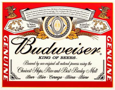 Budwiser Label Tin Sign