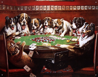 Eight Dogs Playing Cards Plåtskylt