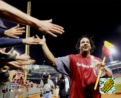 Manny Ramirez celebrating 2004 ALDS sweep of the Angels ©Photofile Photo