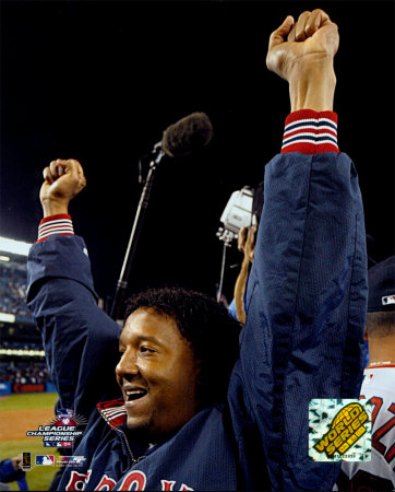 Pedro Martinez celebrating, Game 7 win - ALCS Photo
