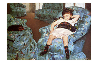 Little Girl Sitting in Blue Arm Chair Giclee Print by Mary Cassatt