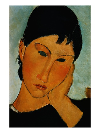 Detail of Female Head from Elvira Resting at a Table Premium Giclee Print by Amedeo Modigliani