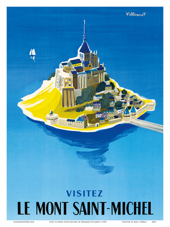 Visit Le Mont Saint-Michel - Normandy, France Prints by Bernard Villemot