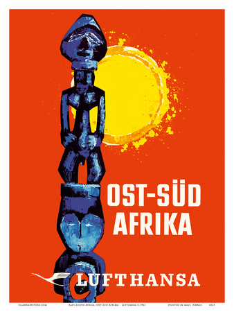 East-South Africa (Ost-Sud Afrika) - Lufthansa German Airlines Poster by  Pacifica Island Art