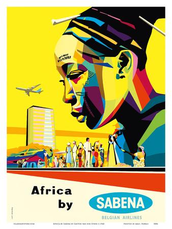 Africa by Sabena - Sabena Belgian World Airlines Prints by Gaston van den Eynde