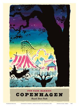 Copenhagen, Denmark - Bakken Fun Fair Amusement Park - Royal Deer Park (Dyrehavsbakken) Poster by Des Asmussen