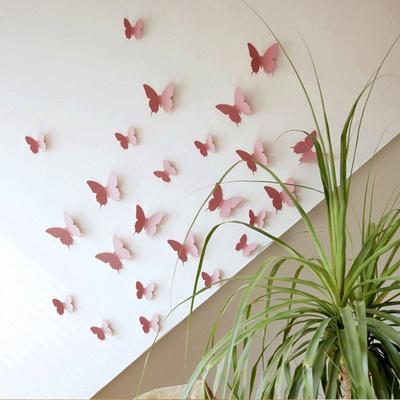 3D Butterflies - Pink Muursticker
