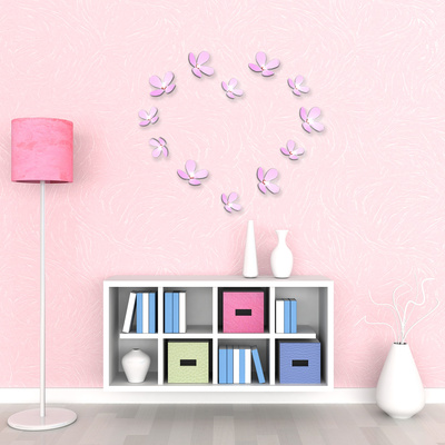 3D Crystal Flowers - Pink Vinilo decorativo