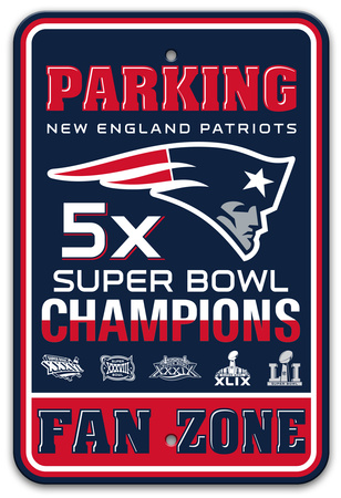 New England Patriots 5x Super Bowl Champions Plastic Parking sign featuring Flying Elvis