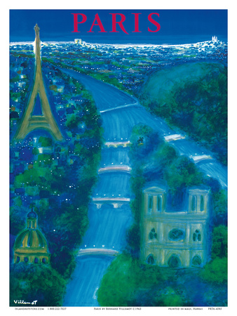 Paris - River Seine, Eiffel Tower, Notre Dame Art by Bernard Villemot