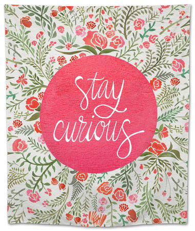 Stay Curious in Pink and Green Tapestry by Cat Coquillette