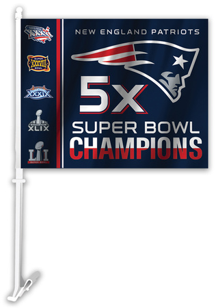 Patriots 5x Super Bowl Champions flag with Flying Elvis