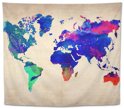 World Watercolor Map 2 Tapestry by  NaxArt