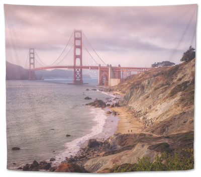 Dreamy Walk to Golden Gate Tapestry by Vincent James