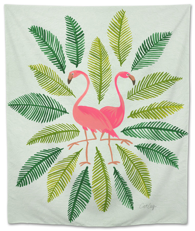 Flamingos Tapestry by Cat Coquillette