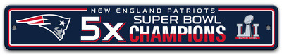 New England Patriots 5x Super Bowl Champions Plastic Street Sign featuring Flying Elvis