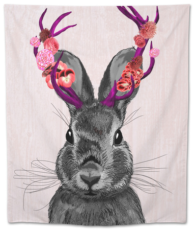 Jackalope with Pink Antlers Tapestry by  Fab Funky